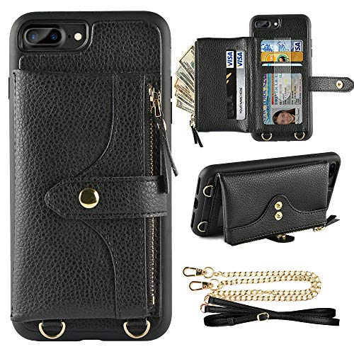 Purse Case Wallet - LAMEEKU Wallet Case Compatible with iPhone 8 Plus, iPhone 7 Plus Case Wallet Card Holder Leather Case with Wrist Chain Crossbody Strap Zipper Case for iPhone 7 Plus/8 Plus (5.5 inches Black)