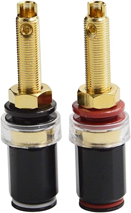 Pair Gold Dual Banana Plug Post Jack Speaker Wire Cable Audio Connector 2PCS