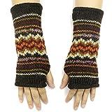 CFrost Women's Hand Knit Zig Zag Fuzz Fingerless Arm Warmer Gloves