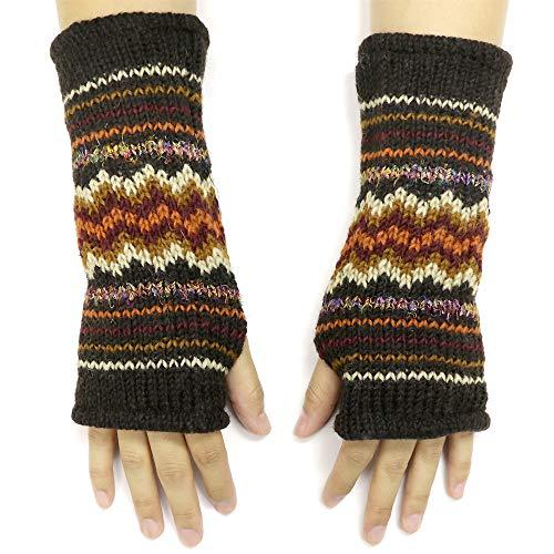 CFrost Women's Hand Knit Zig Zag Fuzz Fingerless Arm Warmer Gloves by C Frost (Image #4)