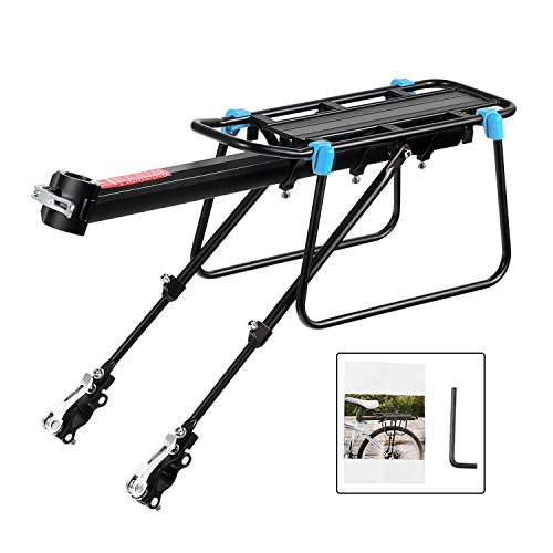 Bicycle Cargo Rack, Universal Adjustable Bike Carrier Rack Quick Release Luggage Cargo Rack Load 110 Lbs Bicycle Pannier Accessories with Reflector for 24