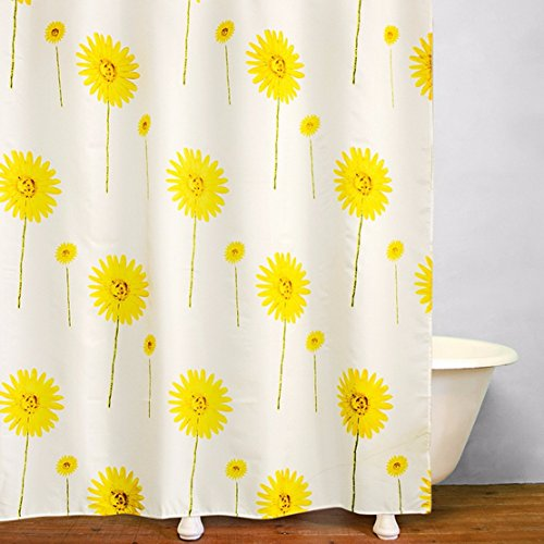 100% Polyester Waterproof Eco-Friendly Fabric Vintage Bathroom Shower Curtain Small Medium Large Sizes Gerbera Yellow 1.8X1.8M/72