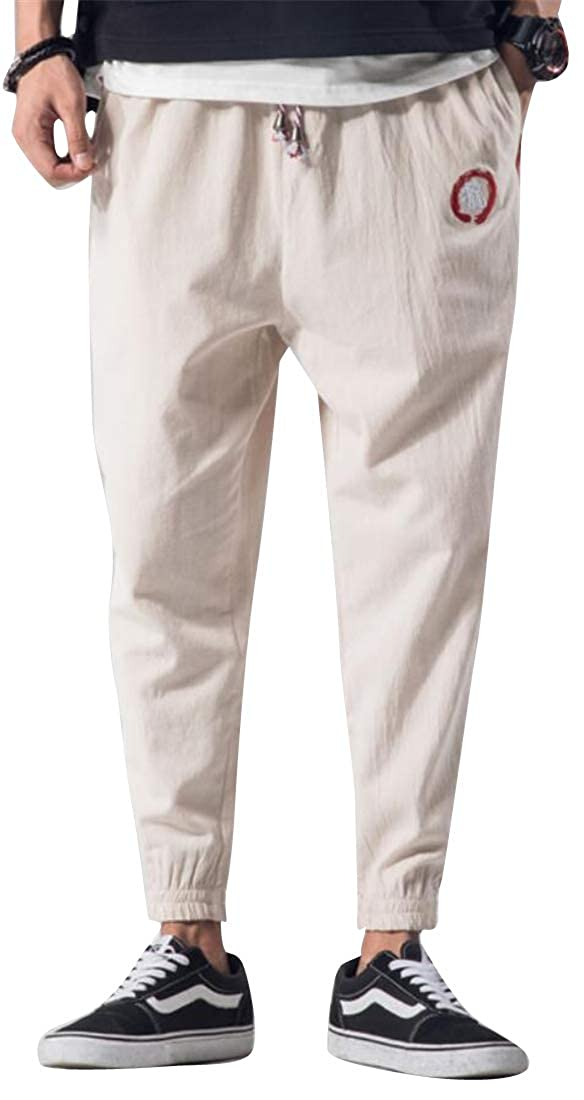 Fubotevic Mens All Embroidery Harem Pants Ankle Loose Casual Drawstring Jogging Pants Trousers