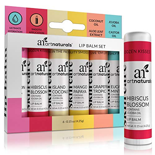ArtNaturals Natural Organic Lip Balm Beeswax - (6 x .15 Oz / 4.25g) - Gift Set of Assorted Flavors - Chapstick for Dry, Chapped & Cracked Lips - Lip Repair with Aloe Vera, Coconut, Castor & Jojoba Oil