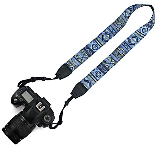 Elvam Universal Men and Women Camera Strap Belt Compatible for All DSLR Camera and SLR Camera - Blue Pattern Striped ()