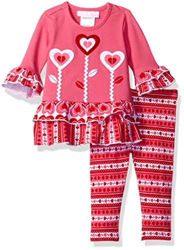 Valentines Day Dress (Bonnie Baby Girls' Heart Appliqed Dress and Legging Set, Fuchsia, 0-3 Months)