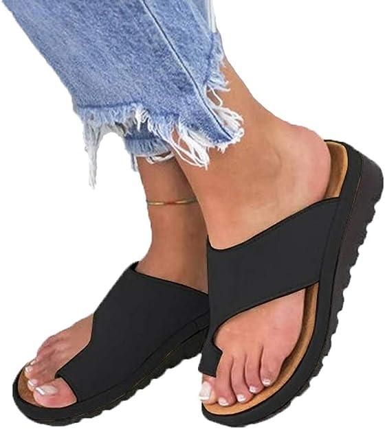 Womens Comfy Platform Sandals Bunion Correction Sandals Summer Leather Flip Flops Open Toe Breathable Casual Beach Travel Shoes
