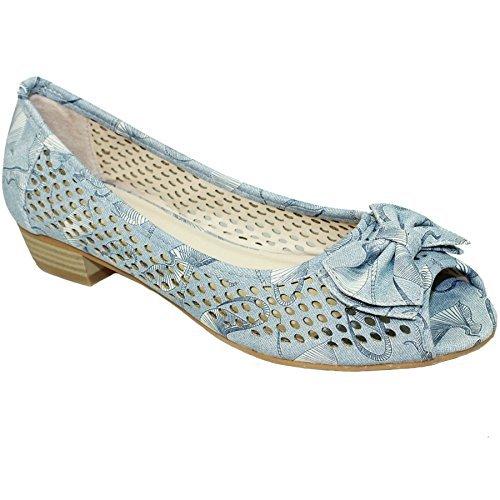 Sapphire Boutique FLC105 Womens Peep Toe Low Heel Sandals Coast Bow Pump Padded Insole Shoes Blue 3x0qFd