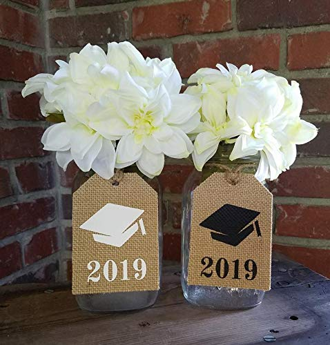CELYCASY Class Reunion Decor Mason jar tag Graduation Party Burlap Centerpiece Graduation Cap Decor Rustic Gift tag Class Reunion Burlap Centerpiece -
