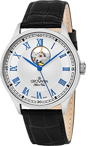 Grovana Mens Silver Face 42MM Swiss Automatic Black Leather Strap Watch 1190.2582
