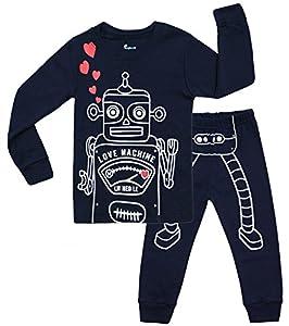 Hugbug Toddler Boys Super Cute Robot Heart 2-Piece Pajama Set 2-7T