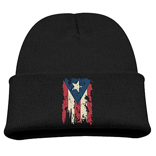 Boys and Girls Winter Knitted Cap Vintage Puerto Rico Flag Beret Cap