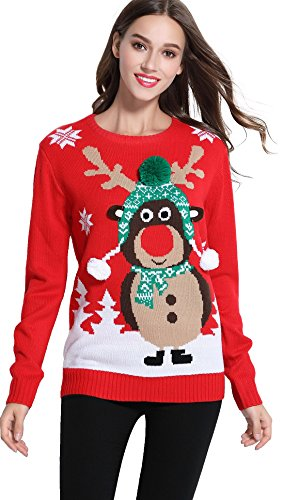 Women's Christmas Cute Reindeer Knitted Sweater Girl Pullover (Large, Warm) Christmas Ugly Sweaters