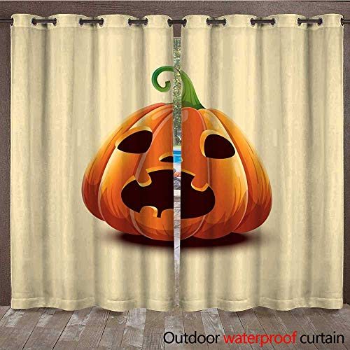 Home Patio Outdoor Curtain Happy Halloween Realistic Vector Halloween Pumpkin Scared face Halloween Pumpkin Isolated on Light Background W96 x L108 -