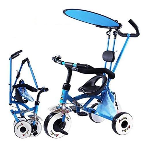 Patrouille de patte de tricycle pour enfants de 4-en-1, enfants de bicyclette de trolley de haute qualité poussent Trikes pour le vélo de roue de bébé 3 avec le bleu pliable et portatif