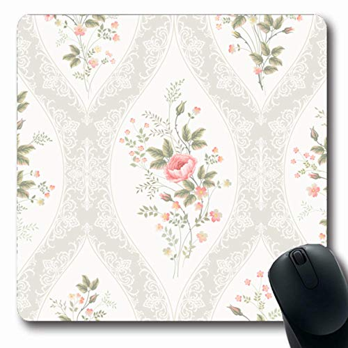 Ahawoso Mousepads Art Blue Flower Floral Pattern Lace Rose Bouquet Abstract Border Spring Victorian Stripes Graphic Oblong Shape 7.9 x 9.5 Inches Non-Slip Gaming Mouse Pad Rubber Oblong Mat ()