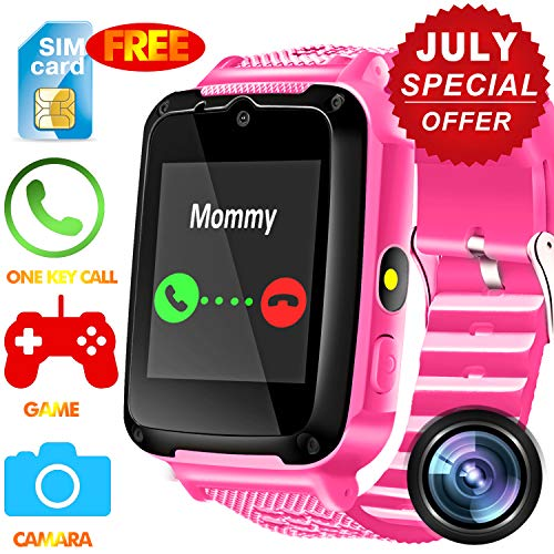 Kids Smart Watch Phone - [Speedtalk SIM Included] Kids Smartwatch for 3-12 Year Boys Girls Touch Screen Camera Game Alarm Clock Sport Outdoor Digital Wrist Cellphone Watch Bracelet Summer Prime Gifts