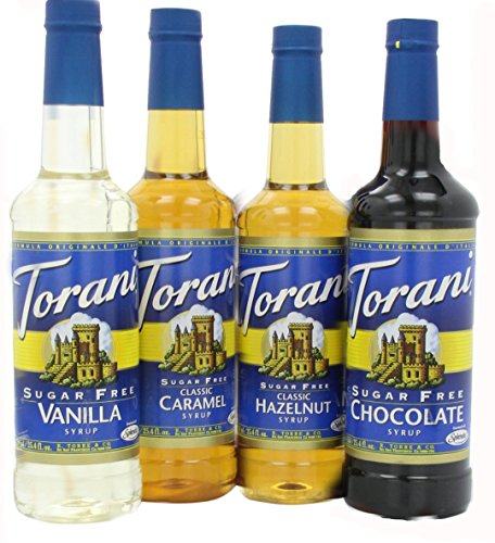 - Torani Sugar Free Syrup Variety Pack for coffee, 25.4 Ounce (Pack of 4) one each of Sugar free: Vanilla, Caramel, Hazelnut and Chocolate