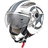 vintage motorcycle gear - DOT Approved Motorcycle Helmet 3/4 Open Face Matte White Star Retro Vintage - XL