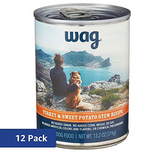 Amazon Brand - Wag Wet Dog Food, Turkey & Sweet Potato Stew Recipe, 13.2 oz Can (Pack of 12)