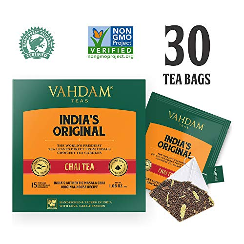 VAHDAM, India's Original Masala Chai Tea Bags, 30 TEA BAGS, 100% NATURAL SPICES & NO ADDED FLAVOURING - Blended & Packed in India - Black Tea, Cardamom, Cinnamon, Black Pepper & Clove