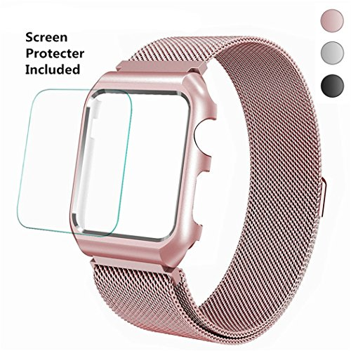 Apple Watch Band 38mm Corelink Milanese Mesh Loop Stainless Steel Magnetic Wrist Band with Metal Case Cover and Screen Protector for iWatch Series 3/2/1 Sport Edition (Rose Gold, 38mm) Magnetic Screen Cover