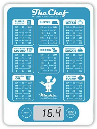 Mackie The Chef Food Scale Digital Kitchen Scale Weight Grams and Oz Easy Fast Simple Precision For Cooking Baking Meal Prep, Baking Conversion Table 1
