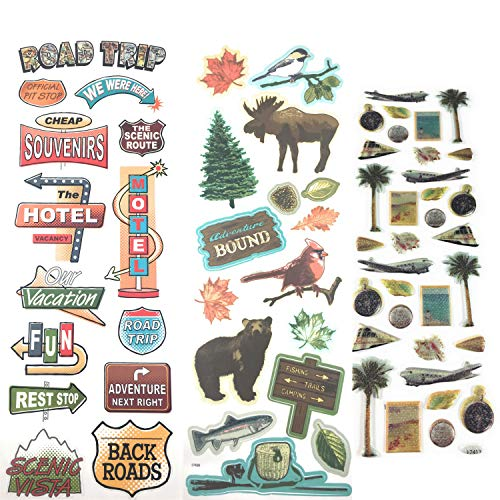 64 Piece! Travel, Road Trip & Nature Theme Scrapbook Stickers Kit | Vintage Stickers - Scrapbook Canada Stickers