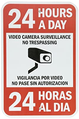 "SmartSign Security Sign, Legend ""24 Hours a Day Video Camera Surveillance"", Black/Red on White"