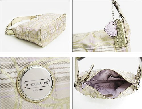 Coach Signature Stripe Tartan Plaid Hobo Bag Purse 17209 Lilac Multi