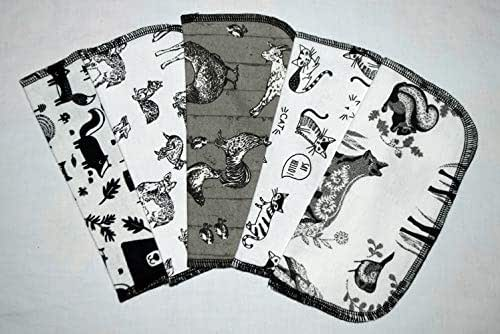 2 Ply Printed Flannel 8x8 Inches Set of 5 Little Wipes Zoological Wildlife