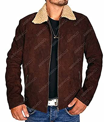Abbracci Men Walking Dead Rick Grimes Sheriff Brown Suede Shearling Genuine Leather Jacket Halloween Costume (2XLarge, Brown)