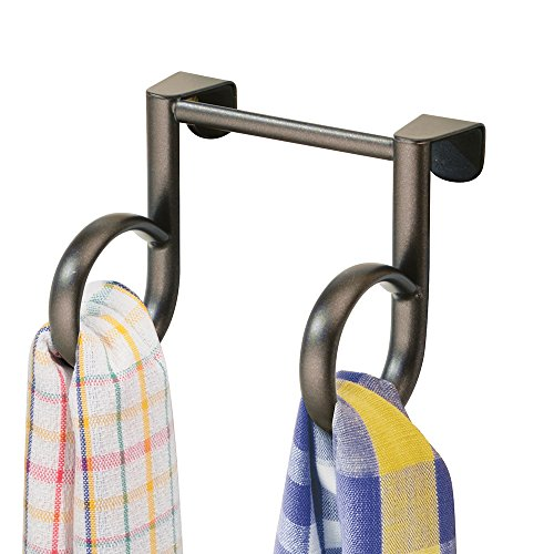 mDesign Over-the-Cabinet Kitchen Dish Towel Holder Double Loop - Bronze on sale