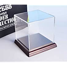 Box Case with Solid Walnut Base and Tote Bag - Clear Acrylic Box Cover & Base – Square Cube 4.5 x 4 x 4