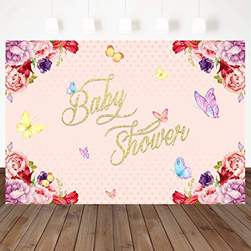 Mehofoto Baby Shower Backdrop Colorful Flower Background Butterfly Decoration 7X5ft Vinyl Studio Photo Props Kids Party Banner Booth Background]()