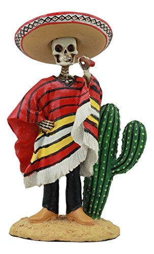 Ebros Mexican Day Of The Dead El Bandito Sicario Skeleton Standing By Cactus Statue Skeleton Desert Bandit Puffing Cigar Figurine