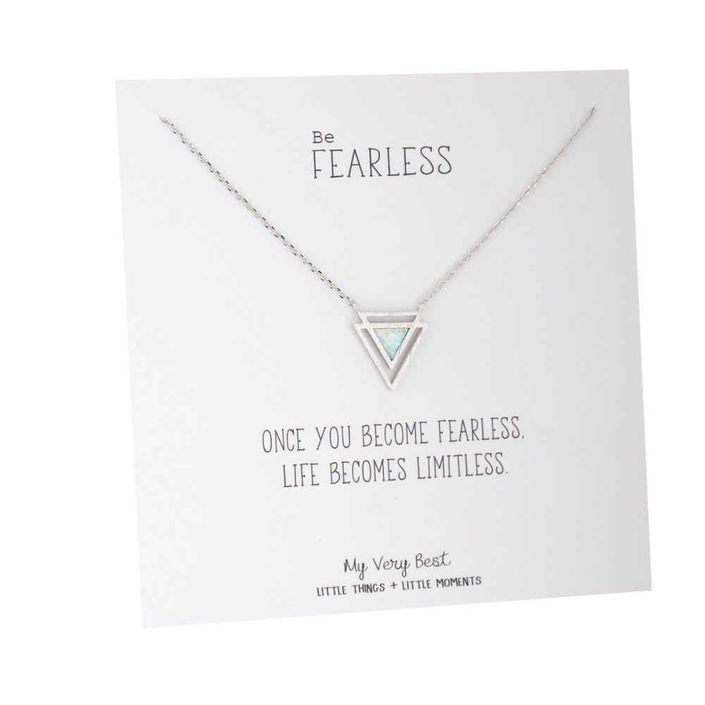 My Very Best Geometric Double Power Triangle Simulated Opal Necklace (silver plated brass)