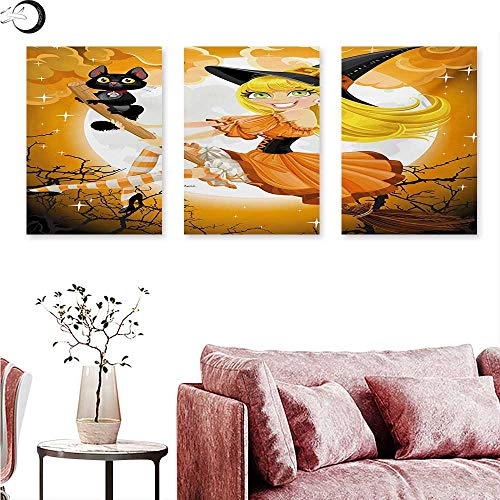 Mannwarehouse Halloween Landscape Canvas Cute Sexy Witch on a Broom with Baby Kitten and Hazy Moonlight Halloween Themed Triptych Wall Art Multicolor W 20