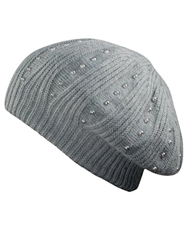 Dahlia Women's Pearl Accented Angora Blend Slouch Beanie Hat - Dual Layer Gray ()