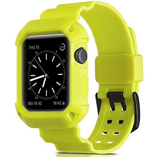 Camyse Compatible Apple Watch Band 38mm Case, Shockproof Rugged Protective Cover with Bands Stainless Steel Clasp for iWatch Apple Watch Series 3, 2, 1 Sport Edition for Men Women Grils Boys - Yellow