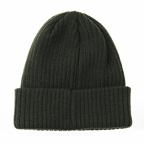 Beanie Punto Ribbed Gorros Verde de Metal NYC WITHMOONS Knit Hat CR5828 Slouchy Patch qxtBgEAw
