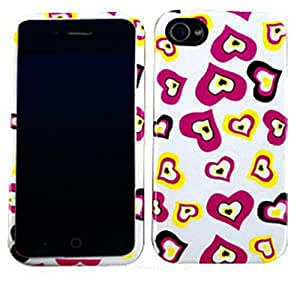 CellTx Jelly Case For Apple (iPhone 4, 4S, 4G) Case Double Layer Cover (Hearts, Pink, White) AT&T, T-Mobile, Sprint, Verizon, Cricket, Virgin Mobile, Boost Mobile by mcsharks
