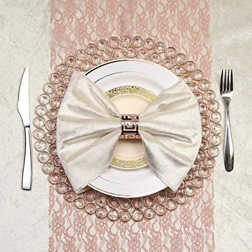 Tableclothsfactory 14 Gold Wired Metal Charger Plate with 118 Acrylic Crystal Beads for Weddings Events