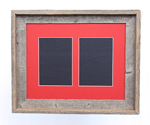 BarnwoodUSA 5 by 7 Inch Signature Picture Frame for 2 Photos - 100% Reclaimed Wood, Deep Red (Colored Wood Picture Frames)