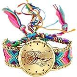 Reloj de cuarzo con pulsera trenzada y diseño de atrapasueños para mujer