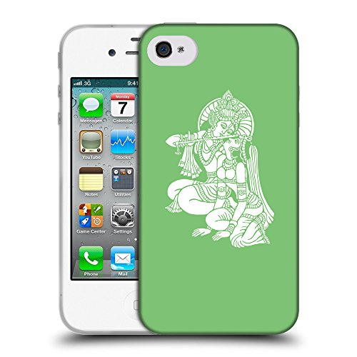 GoGoMobile Coque de Protection TPU Silicone Case pour // Q09570629 Hindou 11 Pastel Vert // Apple iPhone 4 4S 4G