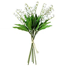 Htmeing Artificial Lily of the Valley Flowers Bush For Home Garden Wedding Decoration (5pcs)