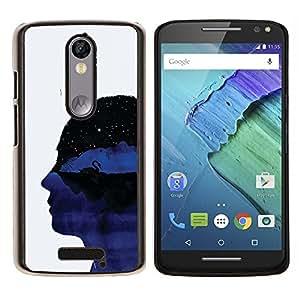 YiPhone /// Prima de resorte delgada de la cubierta del caso de Shell Armor - Perfil retrato de la cabeza del Universo Pensamientos Arte Simbólico - Motorola Moto X3 3rd Generation