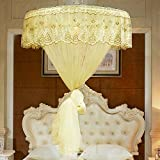 Mosquito Net for Bed Travel Lightweight/Mosquito Net Bed/Cotton Mosquito Net Installation-Free,Twin Size Bed, Crib, Game House,Yellow-diameter120cm/47in