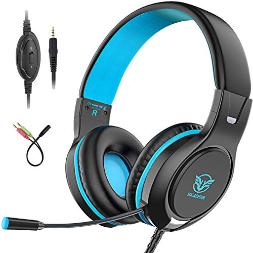 Pobon Gaming Headset for Mac/PC/Smart Phones/iPad, Noise Canceling Bass Surround Sound 3.5mm Jack Over-Ear Game Headphones with Mic (Blue)